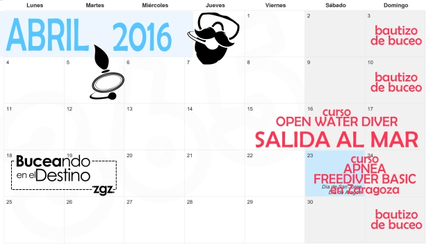 calendario buceo abril zaragoza