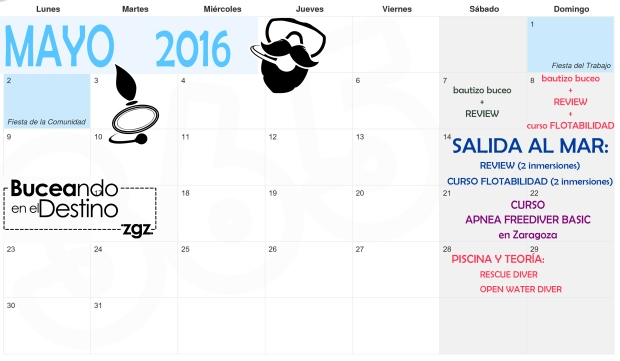 actividades buceo zaragoza mayo 2016